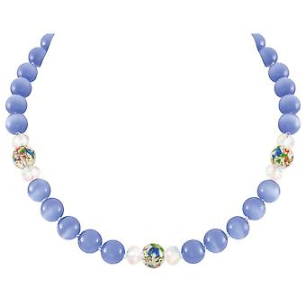 Eternal Collection Serene Cornflower Blu Gatti Occhio Perline Silver Tone Statement Collana