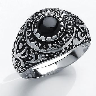 Jewelco London Men's Rhodium Plated Sterling Silver Black Round Onyx Carved Cabochon Signet Ring