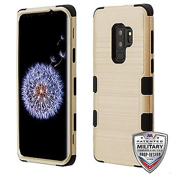 MYBAT Gold Brushed/Black TUFF Hybrid Phone Protector Cover for Galaxy S9 Plus