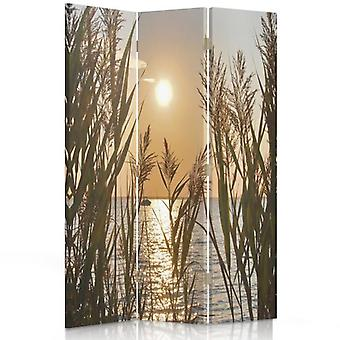 Room Divider, 3 Panels, Double-Sided, 360 ° Rotatable, Canvas, The Setting Sun Over The Lake