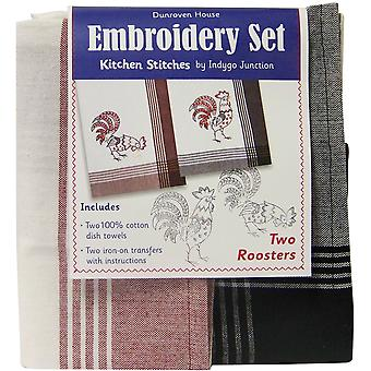 Two Roosters Kitchen Stitches Embroidery Set White with Red & Black with Black Stripes 200 110