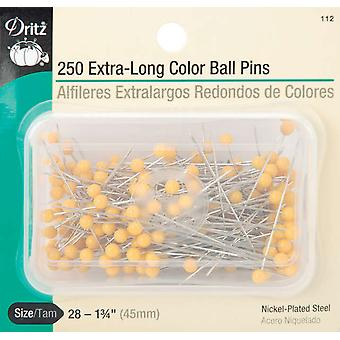 Extra Long Color Ball Pins Size 28 250 Pkg 112