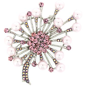 Brooches Store Light Rose Pink Swarovski Crystal  and  Pearl Starburst Leaf Brooch