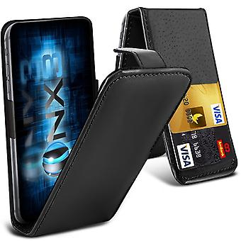 ONX3 (Black) Lenovo A Plus Premium PU Leather Universal Spring Clamp Flip Case with Camera Slide and Card Slot Holder