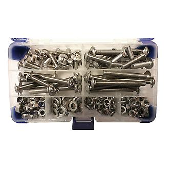 615 Piece M5 Stainless Steel Socket Flanged Button Machine Screws with Nuts and Washers