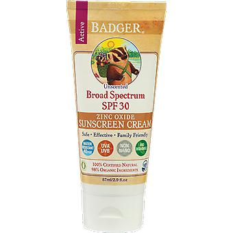 Badger Balm Unscented Zinc Oxide Sunscreen Cream SPF30