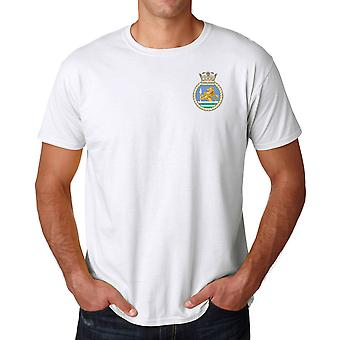 HMS Vanguard Embroidered Logo - Royal Navy Submarine Official MOD Ringspun T Shirt