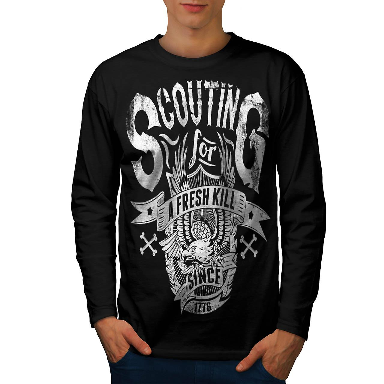Scouting For Kill Vintage Men Black Long Sleeve T-shirt | Wellcoda