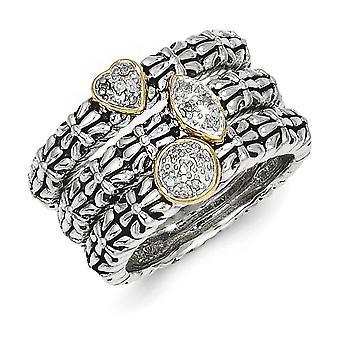Puntas de pulido de plata set abierto final detrás antiguo 14 k 3 apilable anillos de diamantes - el tamaño del anillo: 6 a 8