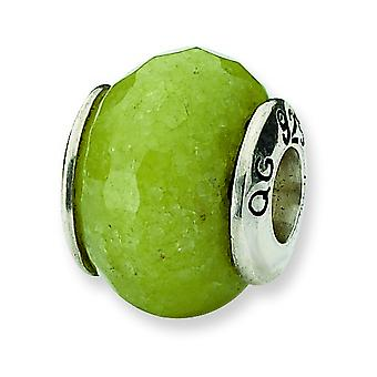 Sterling Silver Polished Antique finish Reflections Apple Green Quartz Stone Bead Charm