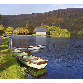 St Finbarres Oratory og robåde på kysten af Gougane Barra søen i Gougane Barra Forest Park County Cork Republik Irland PosterPrint