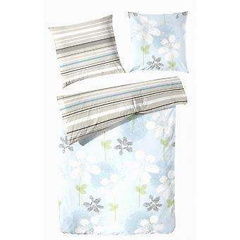 TAP precious flannel reversible bed linen 155 x 220 cm flowers and stripes
