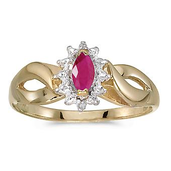10k Yellow Gold Marquise Ruby And Diamond Ring