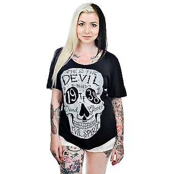 Too Fast Womens Black Me And The Devil Scoop Neck Tshirt Relaxed Skull