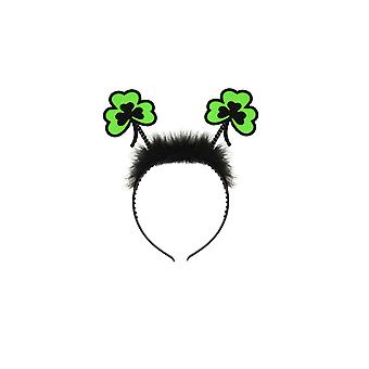 St Patrick's Day Fluffy Green Clover Wiggly Headband Boppers