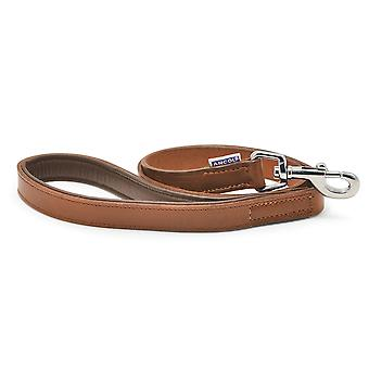 Heritage Chain Lead With Vintage Leather Handle Xheavy Chestnut 80cm