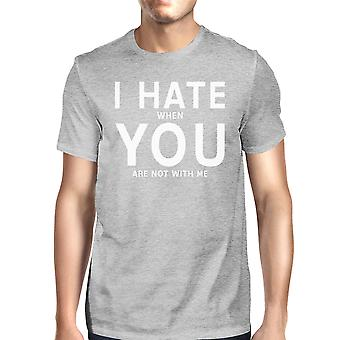 I Hate You Men's Grey T-shirt Simple Typography Crew Neck For Men