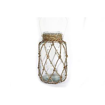 26CM SEALIFE THEME HANGING GLASS LANTERN SEAGRASS MESH AND METAL HANDLE