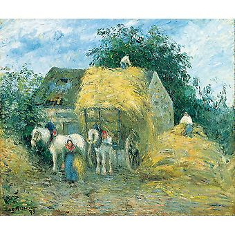 Camille Pissarro - The Hay Cart Montfoucault Poster Print Giclee