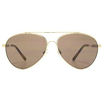 Burberry Fabric Temple Aviator Sunglasses In Light Gold Brown