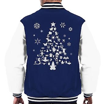 Pokemon Christmas Tree Silhouette White Men's Varsity Jacket