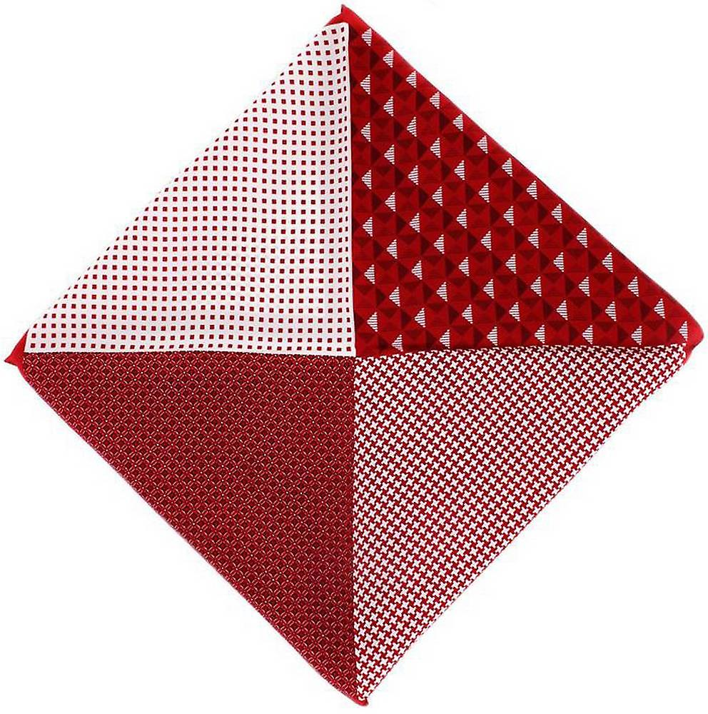 Michelsons of London 4 Way Patterned Silk Handkerchief - Red