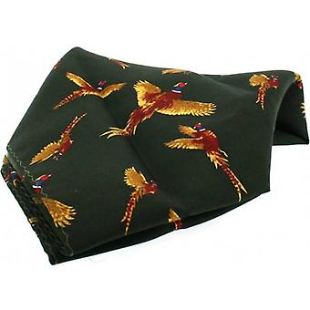 David Van Hagen Flying Pheasant Country Silk Pocket Square - Country Green