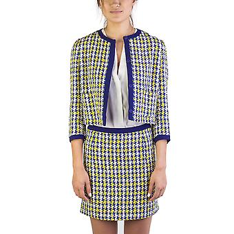 Miu Miu Women's Cotton Blend Tweed Coat Blue