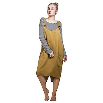 Pinafore with Striped T-shirt - Mustard Dress One Size UK 8-12