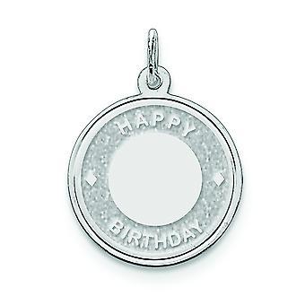 Plata maciza grabado Laser grabado al agua fuerte feliz cumpleaños disco Charm - 1,4 gramos
