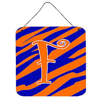 Letter F Initial Tiger Stripe Blue and Orange Wall or Door Hanging Prints