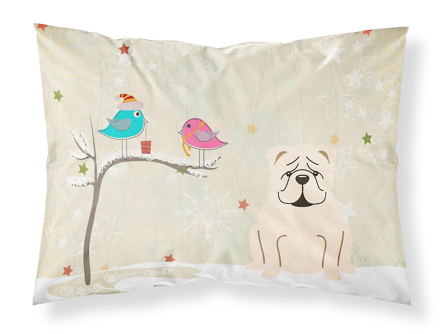 Tissu Noël Standard Cadeaux Amis De Blanc Entre Bulldog Pillowc Anglais CoerxBQdWE