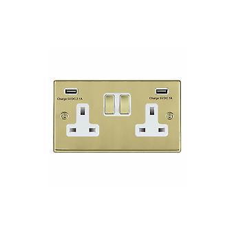 Hamilton Litestat Hartland Polished Brass SP SS2 + USBx2 PB/WH