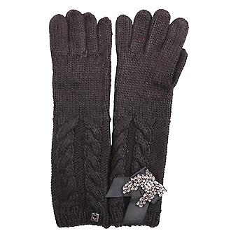 Twin set women's AA7P4200006 black plastic gloves
