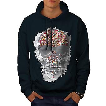 Face Head Skull Men NavyHoodie | Wellcoda