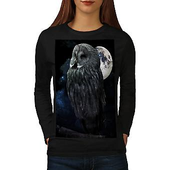Night Owl Moon Sky Women BlackLong Sleeve T-shirt | Wellcoda