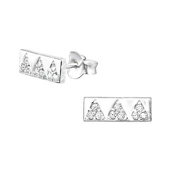 Geometric - 925 Sterling Silver Cubic Zirconia Ear Studs - W33851X