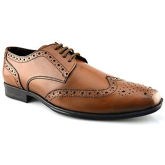 Mens New Leather Lace Up Smart Wedding Dress Brogues Tan Formal Shoes