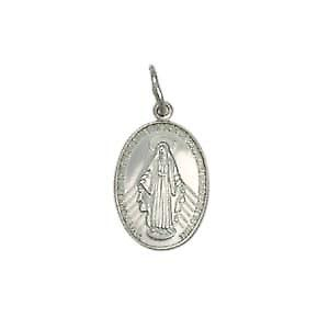 9ct White Gold 16x11mm Miraculous Medallion Medal Pendant
