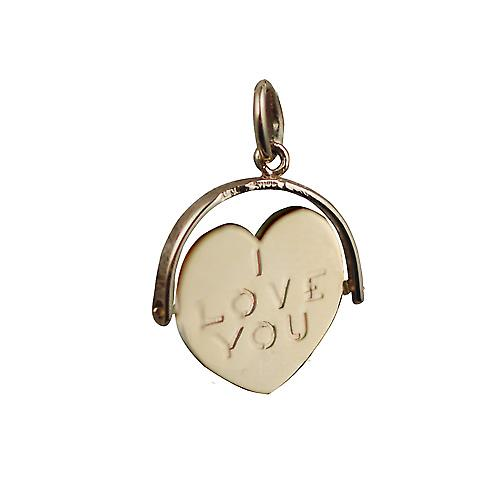9ct Gold 16x16mm I Love You spinning heart disc Pendant or Charm
