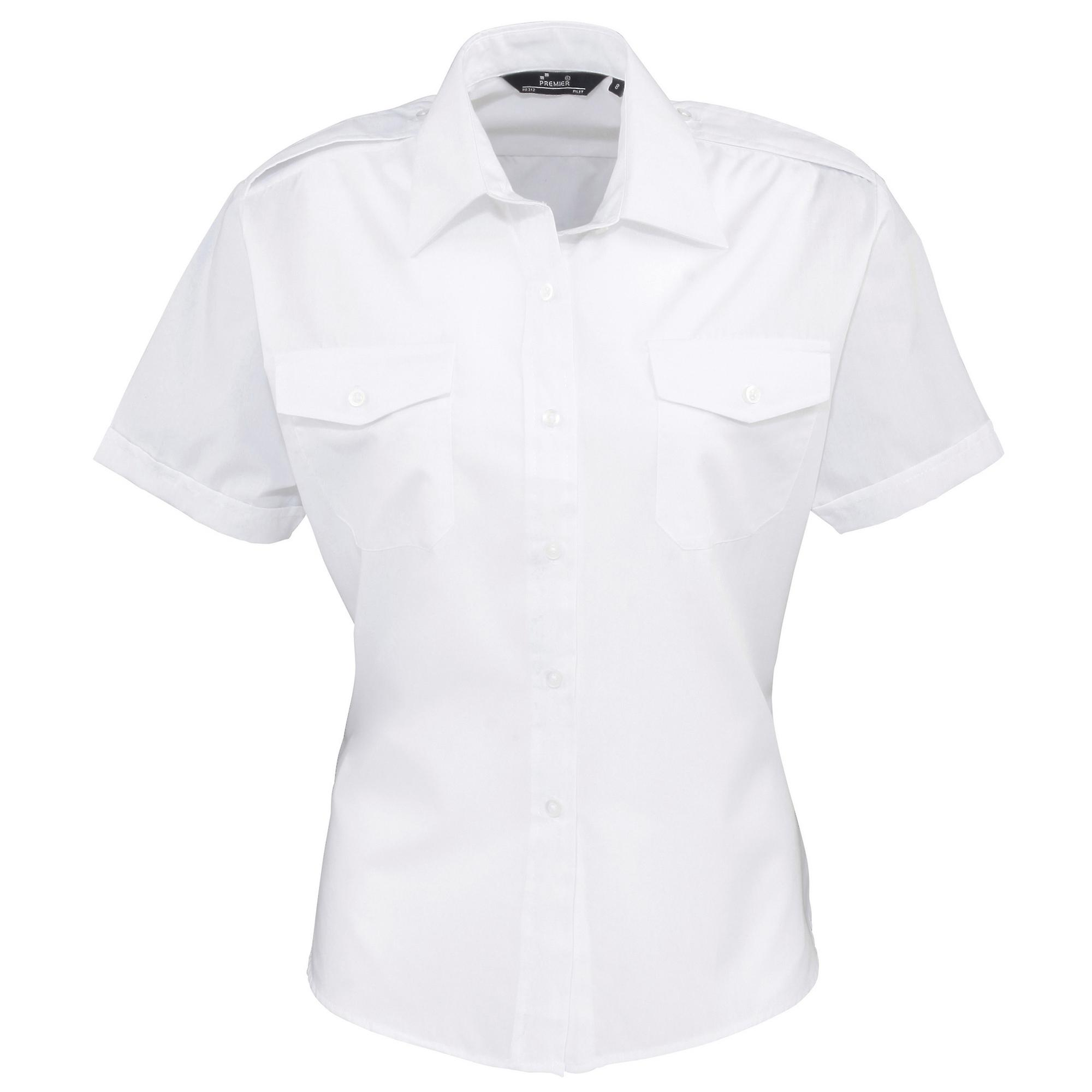 c5d80526cb7 Premier Womens Ladies Short Sleeve Pilot Blouse   Plain Work Shirt ...