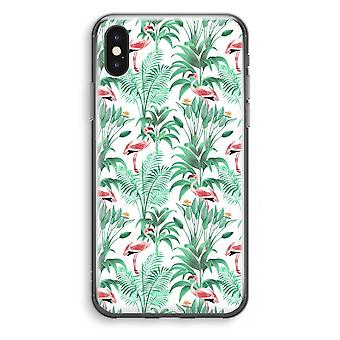 iPhone X Transparant Case - Flamingo Blätter