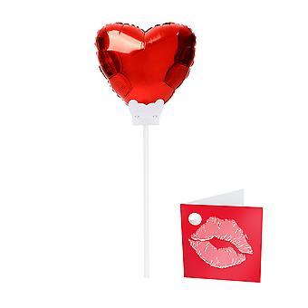 Folienballon mit Stab rotes Herz Hochzeit Liebe Hochzeitstag Blumenstecker