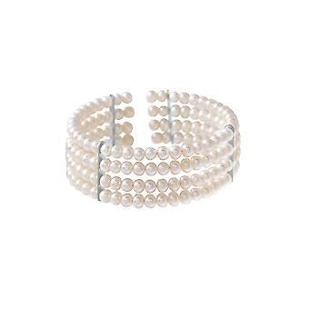 Pérolas de cultura mulher 4 linhas e separadores prata pulseira