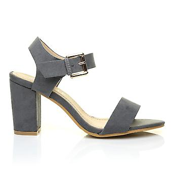 CARRIE Grey Faux Suede High Block Heel Peep Toe Ankle Strap Party Sandals