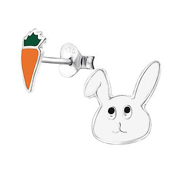 Rabbit And Carrot - 925 Sterling Silver Colourful Ear Studs - W28113x