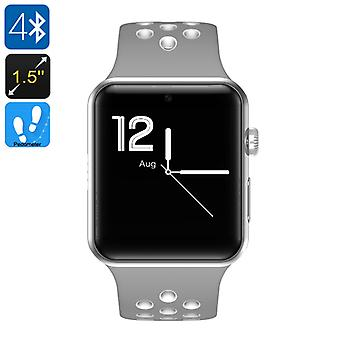 DM09 Plus Bluetooth Watch - Pedometer, 1 IMEI, Calls, SMS, Social Media Notifications, Bluetooth 4.0, OLED (Gray + White)