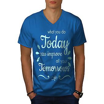 Today Improve Tomorrow Men Royal BlueV-Neck T-shirt | Wellcoda