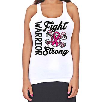 Juniors Dri Fit Warriors Fight Strong Breast Cancer Support T-Back Tank Top