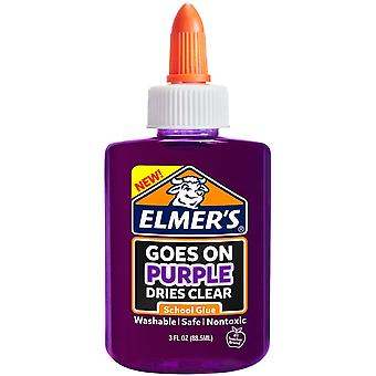 Elmer's Washable Goes On Purple/Dries Clear School Glue-3 Ounces